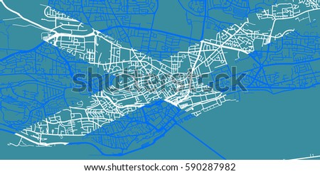 Detailed Vector Map Dundee Based On Stock Vector 590287982