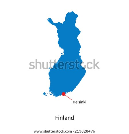 Detailed vector map of Finland and capital city Helsinki - stock vector