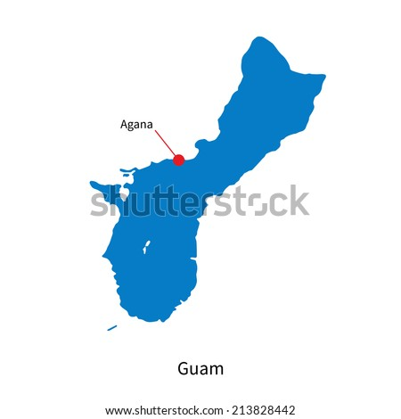 Detailed vector map of Guam and capital city Agana - stock vector
