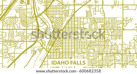 Detailed Vector Map Idaho Falls Gold Stock Vector 600682358
