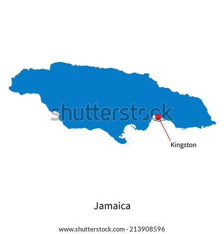 Detailed vector map of Jamaica and capital city Kingston - stock vector