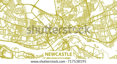 Detailed Vector Map Newcastle Upon Tyne Stock Vector 717538195