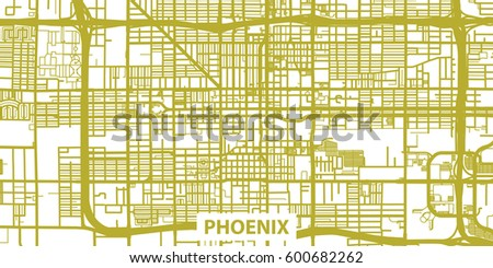 detailed vector map of phoenix in gold with le scale 1 30 000