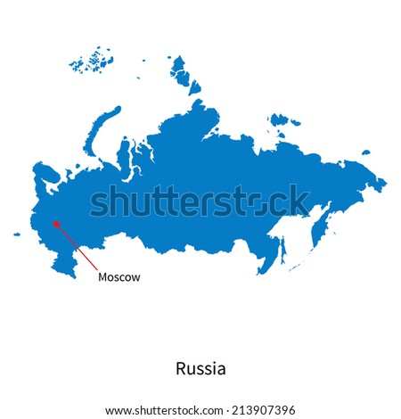 Detailed vector map of Russia and capital city Moscow - stock vector