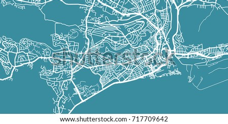 Detailed Vector Map Swansea Scale 130 Stock Vector 717709642