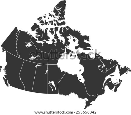 Detailed vector map of the Canada - stock vector