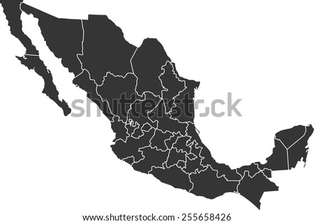 Detailed vector map of the Mexico - stock vector