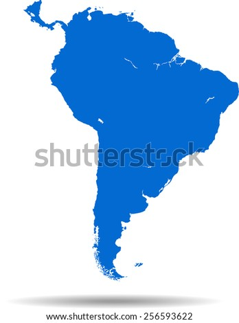 Detailed vector map of the South America - stock vector