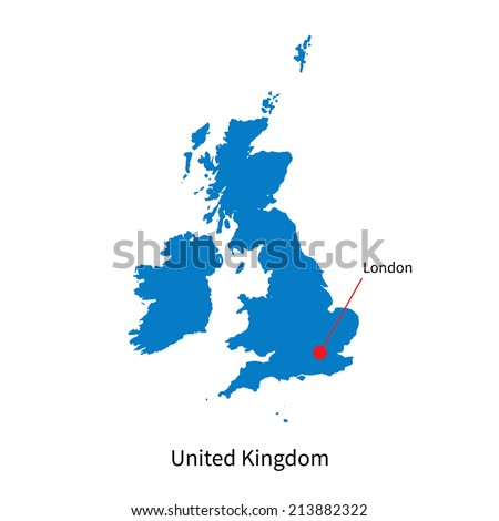 Detailed vector map of United Kingdom and capital city London - stock vector