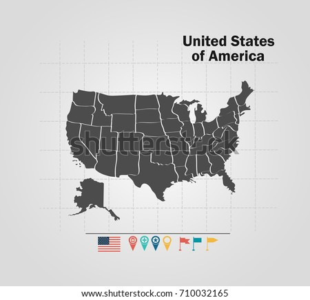 Detailed Vector Map United States America Stock Vector 710032165