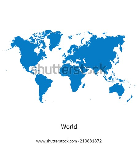 Detailed vector map of World - stock vector
