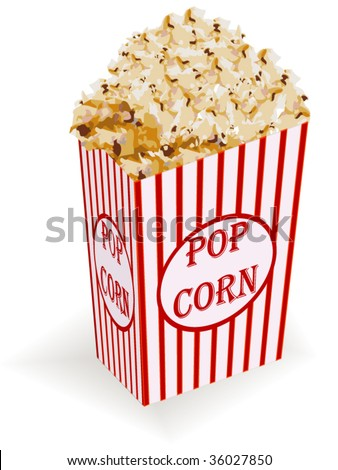 Detailed vector of box of popcorn - stock vector