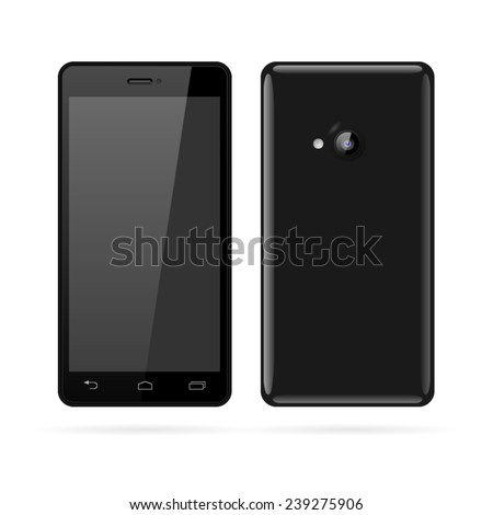 Detailed vector of modern black smartphone.