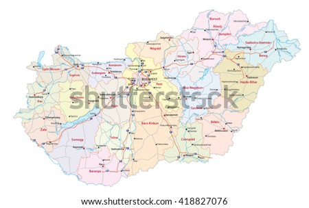 detailed vector roads and administrative map of Hungary with the main cities and rivers