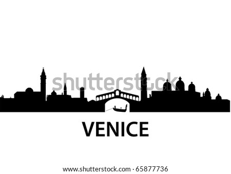 detailed vector silhouette of Venice, Italy - stock vector