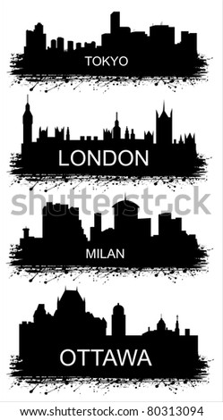 Detailed vector silhouettes of world cities. MILAN, TOKYO, OTTAWA, LONDON. - stock vector