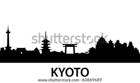 detailed vector skyline of Kyoto, Japan