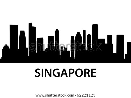 detailed vector skyline of Singapore - stock vector