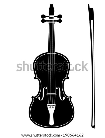 Detailed Vector Violin Silhouette - stock vector