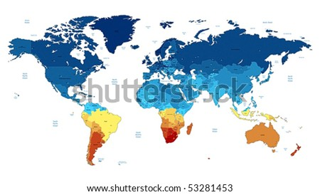 Detailed vector World map of blue and yellow colors. Names, town marks and national borders are in separate layers.