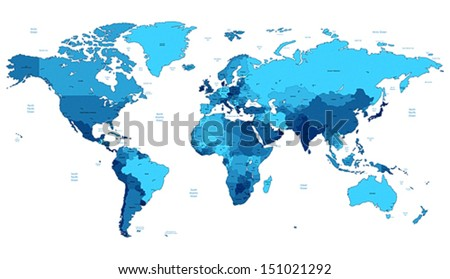 Detailed vector World map of blue colors. Names, town marks and national borders are in separate layers. - stock vector