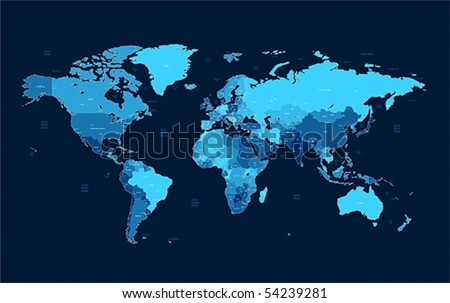 Detailed vector World map of blue colors on dark background. Names, town marks and national borders are in separate layers. - stock vector