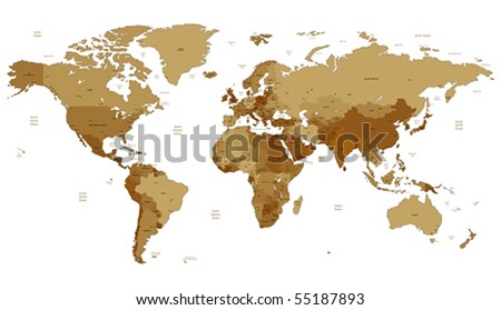 Detailed vector World map of brown sepia colors. Names, town marks and national borders are in separate layers. - stock vector