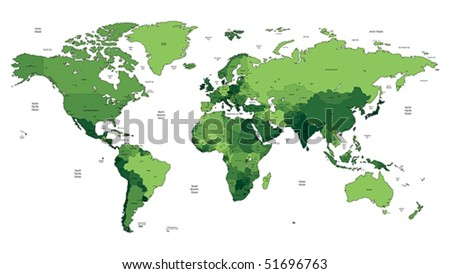 Detailed vector World map of green colors. Names, town marks and national borders are in separate layers. - stock vector