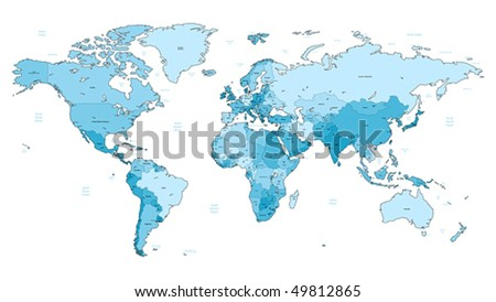 Detailed vector World map of light blue colors. Names, town marks and national borders are in separate layers. - stock vector