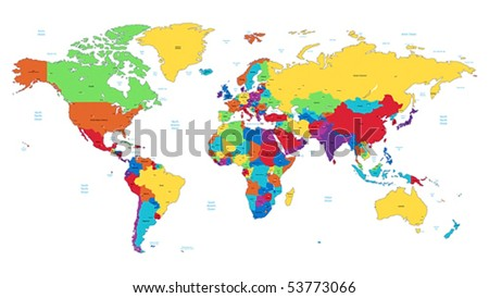Detailed vector World map of rainbow colors. Names, town marks and national borders are in separate layers. - stock vector