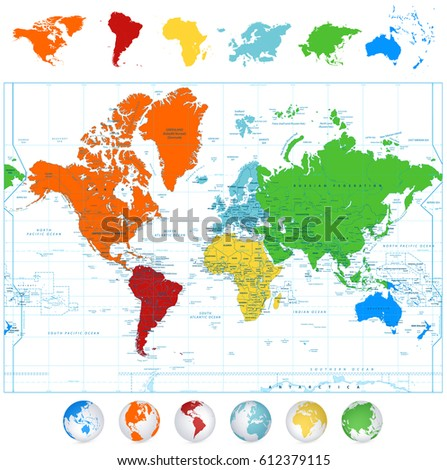 Detailed Vector World Map Colorful Continents Stock Vector HD