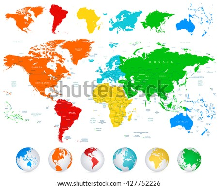 Detailed vector World map with colorful continents, political boundaries, country names and 3D globes. - stock vector