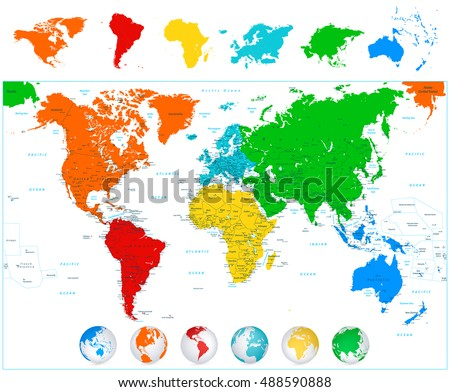 Detailed vector world map colorful continents stock vector detailed vector world map with colorful continents political boundaries country names and 3d globes gumiabroncs Gallery