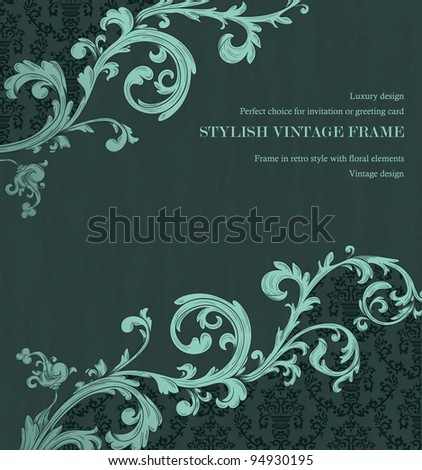 Detailed vintage card with damask wallpaper on beige grunge background - stock vector