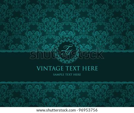 Detailed vintage card with damask wallpaper on beige grunge background - stock vector