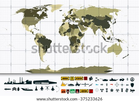 Detailed World Map and Military Power Icon Set.All elements are separated in editable layers clearly labeled. - stock vector