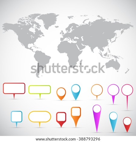 Detailed world map and pointers. Collection of 3D map pointers with world map. - stock vector