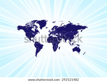 Detailed World Map Beaming - stock vector