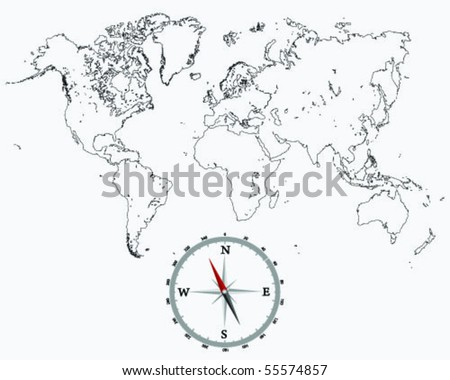 detailed world map outlines and compass - stock vector