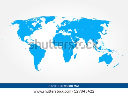 Detailed world map vector - the most finest world map graphic in blue color - stock vector