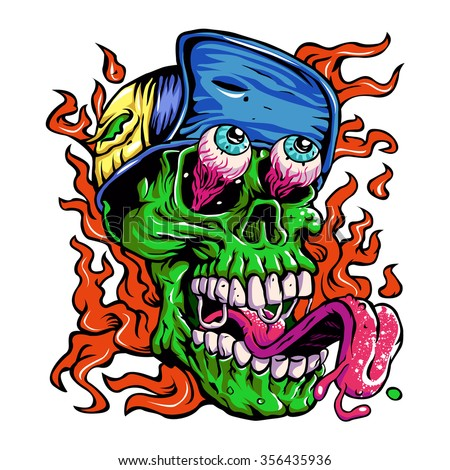 Detailed Zombie wearing hat Head Illustration - stock vector