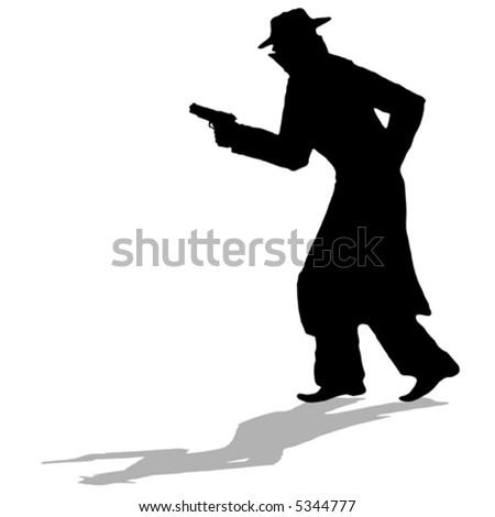 detective - black silhouette of man with gun (vector) - stock vector