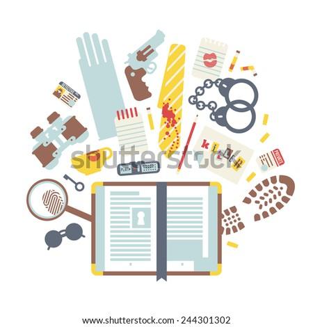 Detective book set - stock vector