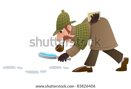 Detective: Cartoon illustration of a detective, following footprints. No transparency used. Basic (linear) gradients. - stock vector