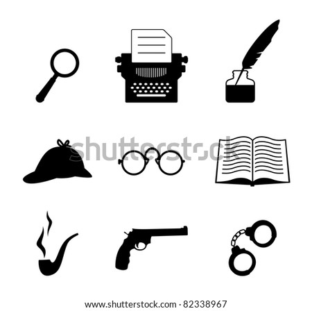 Detective icon set - stock vector