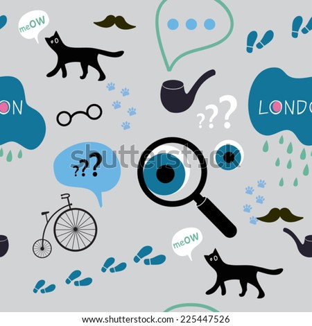 detective in London seamless pattern - stock vector