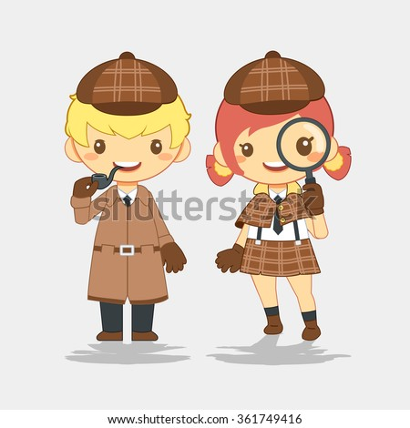Detective, man with pipe and woman with magnifier - stock vector