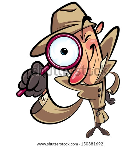 Detective search looking through big lens - stock vector