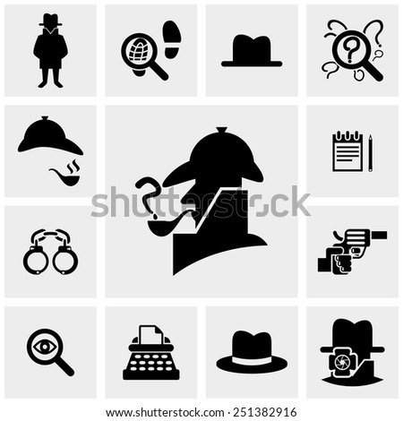 Detective vector icons set on gray