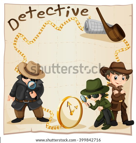 Detectives looking for clues illustration - stock vector